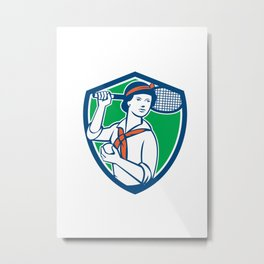 Female Tennis Player Racquet Vintage Shield Retro Metal Print