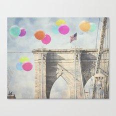 Bright Brooklyn Bridge Balloons Canvas Print