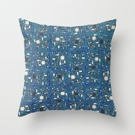 Blue tech Throw Pillow