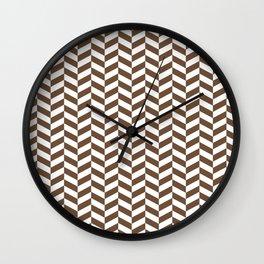 Coffee Brown Herringbone Pattern Wall Clock
