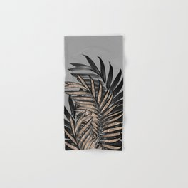 Gray Black Palm Leaves with Gold Glitter #1 #tropical #decor #art #society6 Hand & Bath Towel
