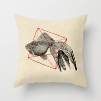 fish Throw Pillows featuring Fish In Geometrics III by Florent Bodart / Speakerine