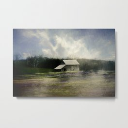 Barn in the mist Metal Print