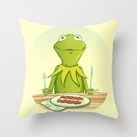 kermit Throw Pillows featuring Kermit Loves Facon by dellydel