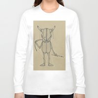animal skull Long Sleeve T-shirts featuring Bull Skull Guy Spirit Animal by Drawn by Lex