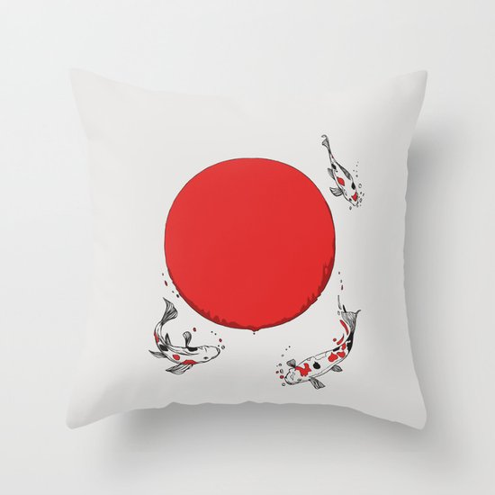 Koi and Sun Throw Pillow