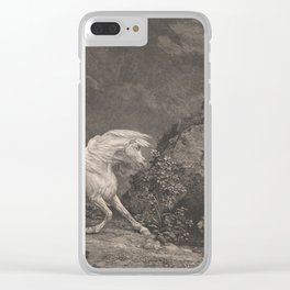George Stubbs A Horse Affrighted by a Lion Black and White Vintage Ink Illustaration Fantasy Art Clear iPhone Case