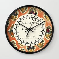 jane austen Wall Clocks featuring Remember Jane Austen (3) - Emma by MW. [by Mathius Wilder]