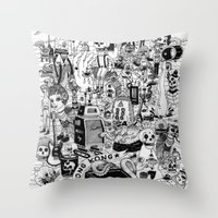 hong kong Throw Pillows featuring HONG KONG CLUB by ALVAREZ