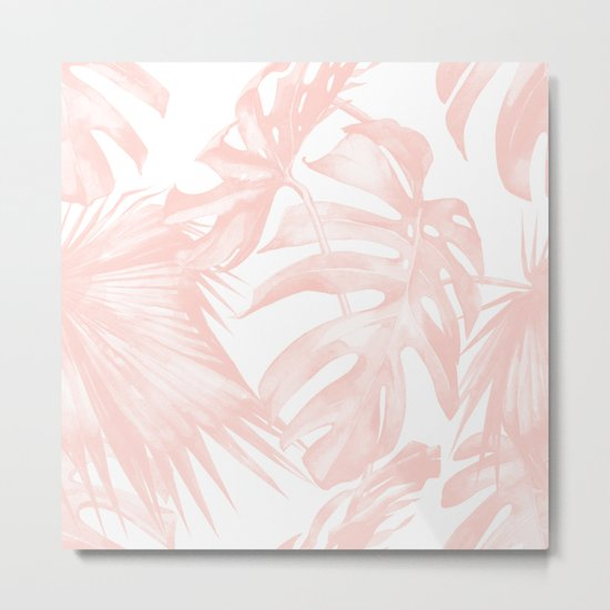 Tropical Leaves Pink and White Metal Print