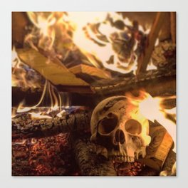 Catacomb Culture - Human Skull Fire Canvas Print