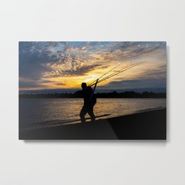 Surf Fisherman Metal Print