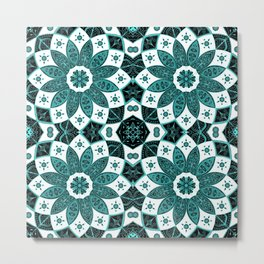 Mandala mint green pattern art design drawing Metal Print