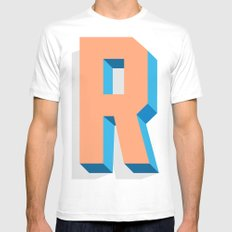 Letter R White Mens Fitted Tee SMALL