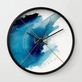 Galaxy Series 3 - a blue and gold abstract mixed media set Wall Clock