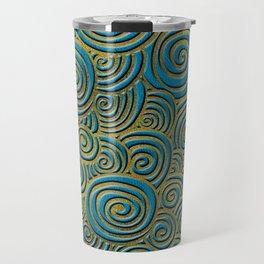 Elegant Golden Doodle Swirl on Blue Leather Travel Mug
