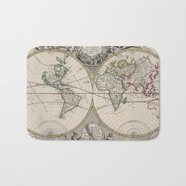 Vintage Map of The World (1721) Bath Mat