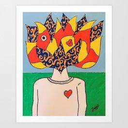 Flaming Head Art Print