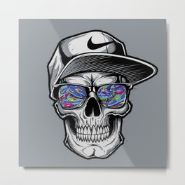 Skelete face sunglasses Metal Print