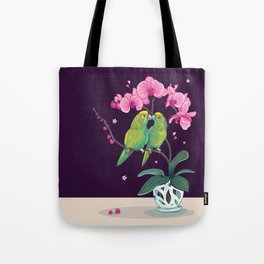 2 Amazon Parrots on a Pink Orchid Tote Bag