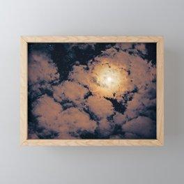 Full moon through purple clouds Framed Mini Art Print