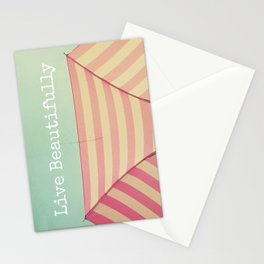 Pink Umbrella Aqua Sky Stationery Cards