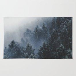 Snowy Evergreen Forest Fog (Color) Rug