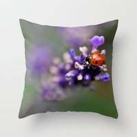 ladybug Throw Pillows featuring Ladybug by Nathalie Photos