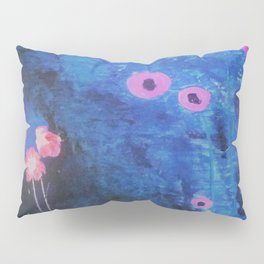 Abstract Vibrant Blue Flower Painting by Jodi Tomer. Blue, Abstract Pillow Sham
