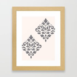 Scroll Damask Art I Grey on Cream Framed Art Print