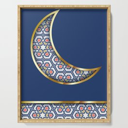 Patterned crescent on dark blue Serving Tray
