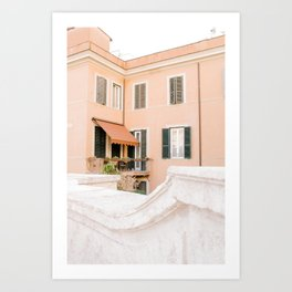 Rome 0003: Pastel home in Rome, Italy Art Print