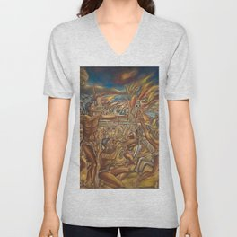 The Fall of Tenochtitlan, the capital of the Aztec Empire landscape by A. Cantu Unisex V-Neck