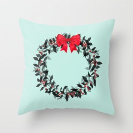 Christmas Wreath with Red Bow #Christmas #holidays Throw Pillow