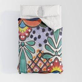 Colorful Talavera, Orange Accent, Large, Mexican Tile Design Comforters