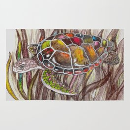Tripping turtle Rug