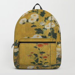 Red and White Chrysanthemums Vintage Japanese Gold Leaf Screen Backpack