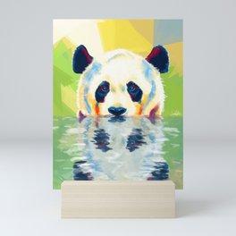 Panda taking a bath Mini Art Print