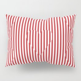 red and white striped hearts Pillow Sham