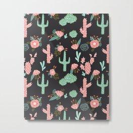 Cactus florals dark charcoal colorful trendy desert southwest house plants cacti succulents pattern Metal Print