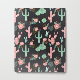 Cactus florals dark charcoal colorful trendy desert southwest house plants cacti succulents pattern Metal Print