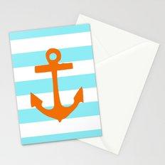 Orange Nautical Stripe Stationery Cards