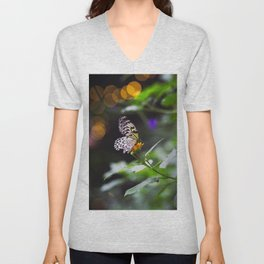 Butterflies + Twinkle Lights 1 Unisex V-Neck
