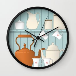 Vintage Kitchen Ilustration Wall Clock