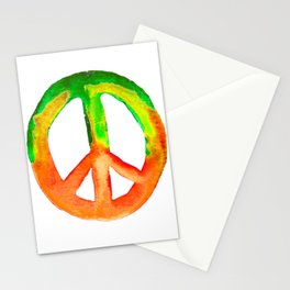 Watercolor Tie Dye Peace Sign Green Orange Yellow Stationery Cards