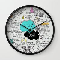 fault Wall Clocks featuring The Fault in Our Stars- John Green by Natasha Ramon
