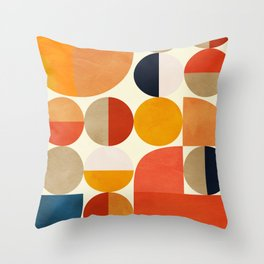 geometric abstract shapes autumn Throw Pillow
