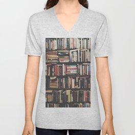 Bookshelf Books Library Bookworm Reading Pattern Unisex V-Neck
