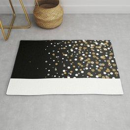 Pretty modern girly faux gold glitter confetti ombre illustration Rug