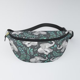 Laughing Baby Elephants – emerald and turquoise Fanny Pack
